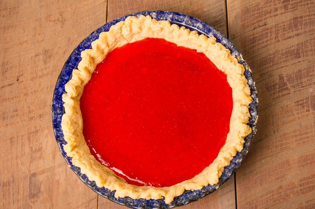 Pie crust with strawberry filling