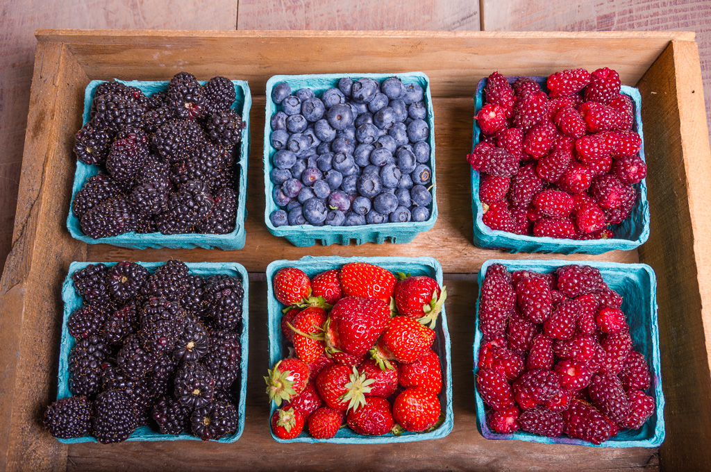 blackberry, Blueberry, Tayberry & Strawberries in a wooden crate