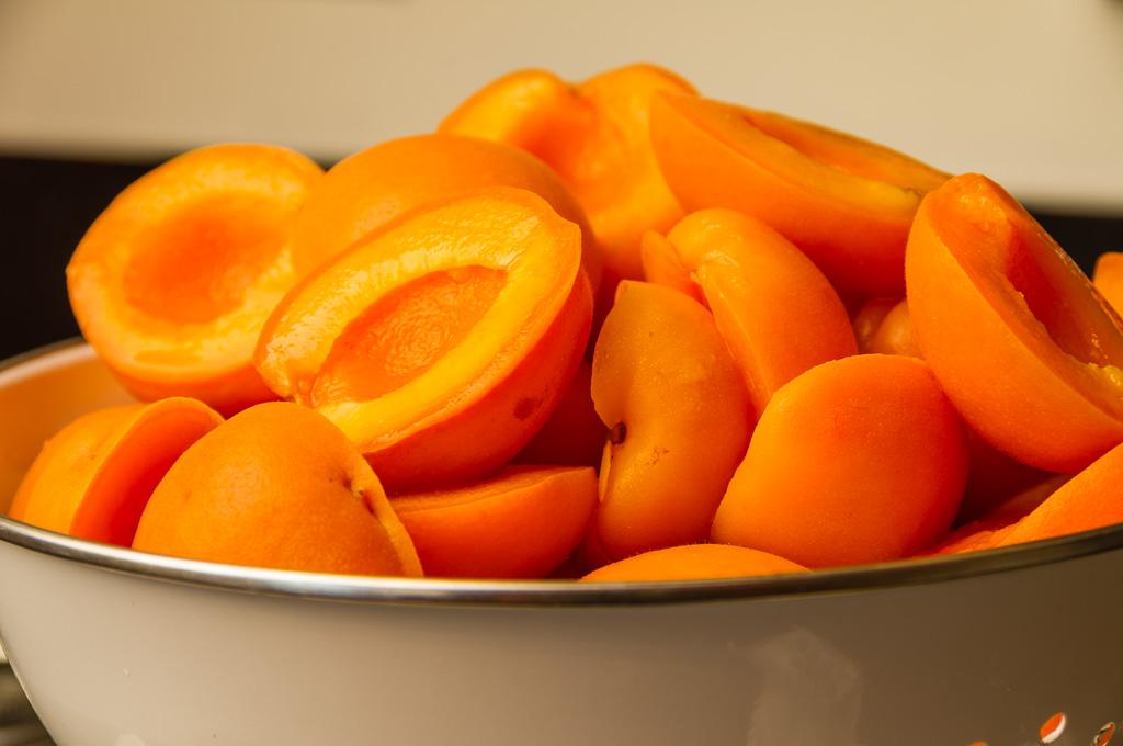 Fresh cut apricots