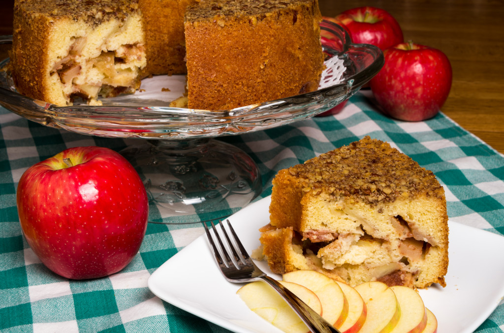 fresh baked apple cake with red apples