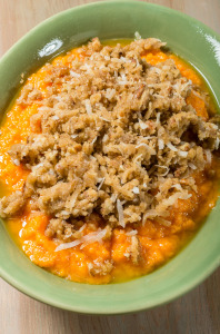 Yam casserole with pecans and coconut