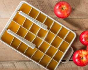 Ice cube tray of apple cider