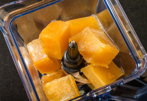 Apple cider ice cubes in Ninja Blender