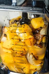 roasted pumpkins, onions and mushrooms in a Ninja Blender