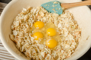 Bowl of cracker stuffing with eggs