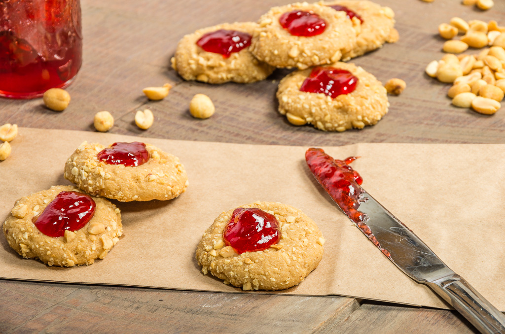 Peanut Butter Thumbprint Cookies with Strawberry Jelly
