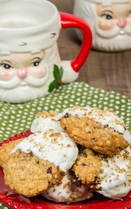 Oatmeal Cookies dipped in White Chocolate