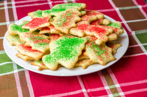 Plate of sugar cookies on the table