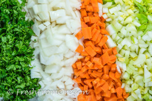 Diced parsely, onions, carrots and celery